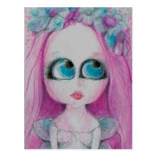 Unbekümmert eine rosa still wünschende Blumenfee Postkarte