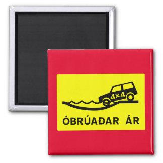Unbridged Fluss, Verkehrszeichen, Island Quadratischer Magnet