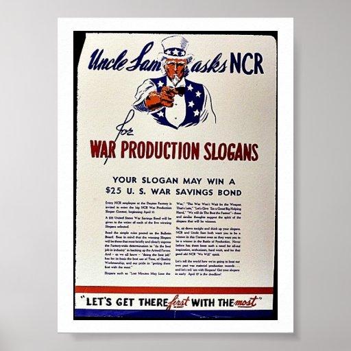 Uncle Sam Fragt NCR für Kriegs-Produktions-Slogans Posterdrucke