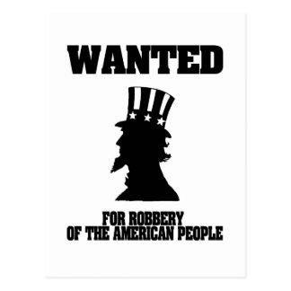 Uncle Sam Gewollt für Raub Postkarte