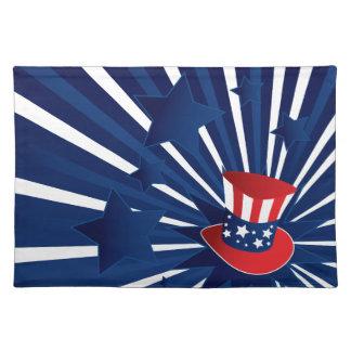 Uncle Sam Hut und Sterne Tischset
