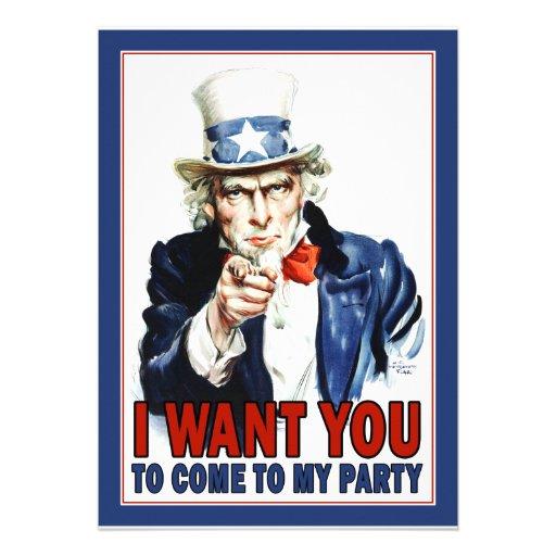 Uncle Sam - ICH WILL SIE - Party Einladung