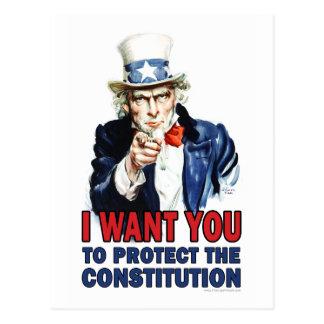 Uncle Sam: Ich will Sie, um die Konstitution zu Postkarte