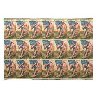 Uncle Sam Mit Flaggen-Vintagem Tischset
