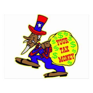 Uncle Sam Obama und Ihr Steuer-Geld Postkarte