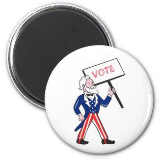 Uncle Sam Plakat-Abstimmungs-stehender Cartoon Runder Magnet 5,1 Cm