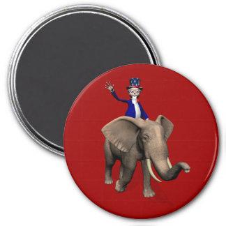 Uncle Sam Reiten auf Elefanten Runder Magnet 7,6 Cm