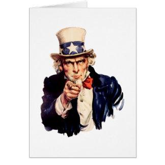 Uncle Sam Seinen Finger zeigend Grußkarte