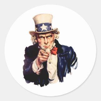 Uncle Sam Seinen Finger zeigend Runder Aufkleber