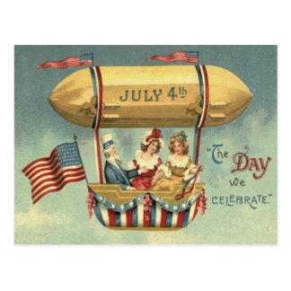Uncle Sam US Flaggen-Zeppelin-Luft-Ballon Postkarte