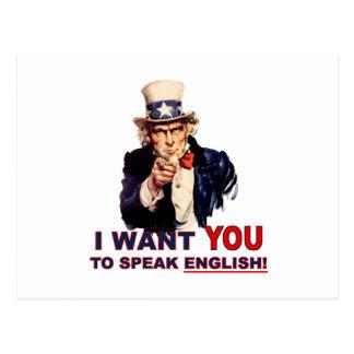 Uncle Sam WOLLEN SIE sprechen Englisch Postkarte