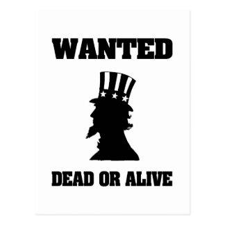 Uncle Sam Wollte Tote oder lebendiges Postkarte