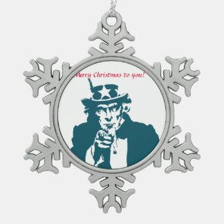 Uncle Sam Wünsche Schneeflocken Zinn-Ornament