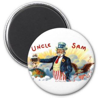 Uncle Sam Zigarren am 4. Juli Vintag Runder Magnet 5,7 Cm