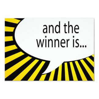 und der Sieger ist! Comicspracheblase 8,9 X 12,7 Cm Einladungskarte