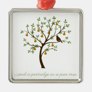 Und ein Rebhuhn in einem Birnenbaum Silbernes Ornament
