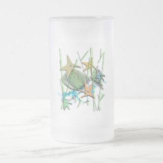 Under water motif mattglas bierglas