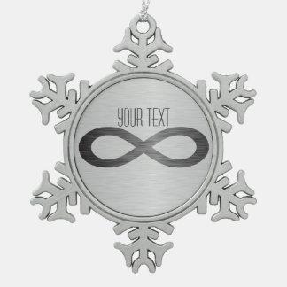 Unendlichkeits-Symbol auf Schneeflocken Zinn-Ornament