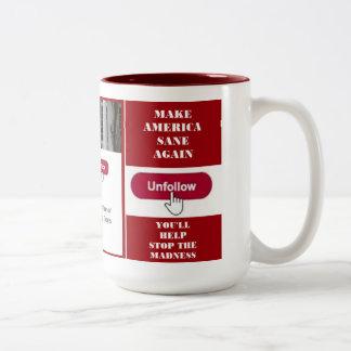 Unfollow Trumpf-Twitter-Tasse Zweifarbige Tasse