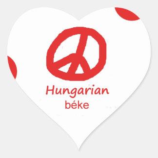 Ungarische Sprache und Friedenssymbol-Entwurf Herz-Aufkleber