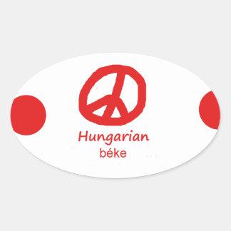 Ungarische Sprache und Friedenssymbol-Entwurf Ovaler Aufkleber