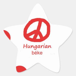 Ungarische Sprache und Friedenssymbol-Entwurf Stern-Aufkleber