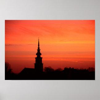 Ungarischer Sonnenuntergang mit Kirche Poster