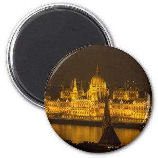 Ungarisches Parlament Budapest bis zum Nacht Runder Magnet 5,1 Cm