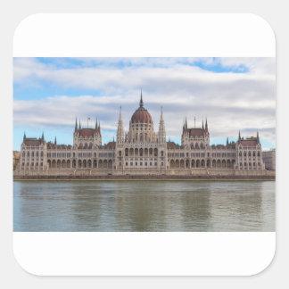 Ungarisches Parlament Budapest bis zum Tag Quadratischer Aufkleber