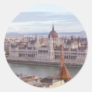 Ungarisches Parlament Budapest bis zum Tag Runder Aufkleber