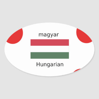 Ungarn-Sprache und Flaggen-Entwurf Ovaler Aufkleber