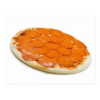 Ungekochte Pepperonis und Käsepizza Postkarte