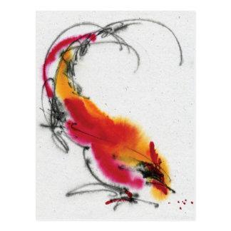 Ungewöhnlicher Hahn. Kalligraphie und Watercolor. Postkarte