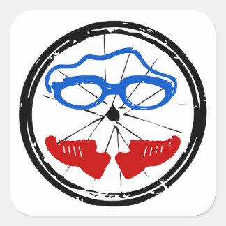 Ungewöhnliches Logo des Triathlon Quadratischer Aufkleber