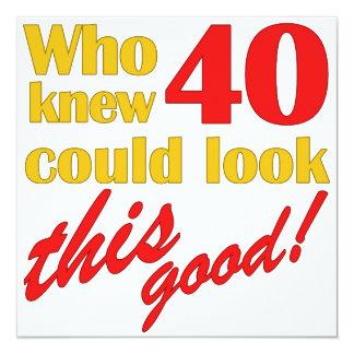 Unglaublich witzig 40. Geburtstags-Party Quadratische 13,3 Cm Einladungskarte