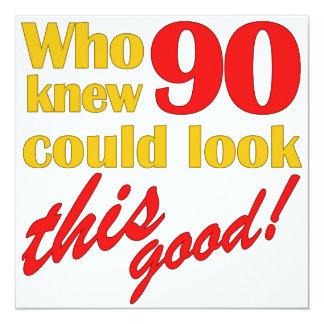 Unglaublich witzig 90. Geburtstags-Party Quadratische 13,3 Cm Einladungskarte