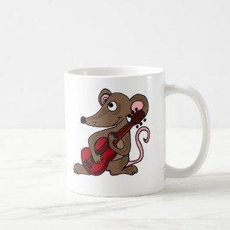 Unglaublich witzig Cartoon-Maus, die rote Gitarre Kaffeetasse