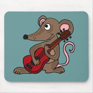 Unglaublich witzig Cartoon-Maus, die rote Gitarre  Mauspad