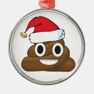 Unglaublich witzig Weihnachten kacken Emoji Silbernes Ornament