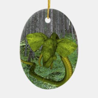 Unglaubliche Elefant-Pythonschlange Keramik Ornament