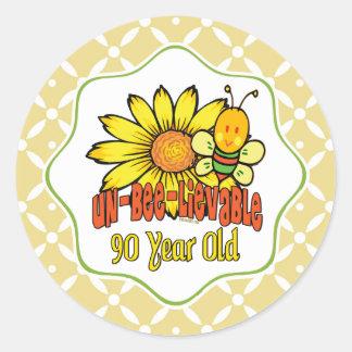 Unglaublicher 90. Geburtstag mit Sonnenblumen und Runder Aufkleber