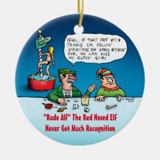 Unhöflicher Alf lustiger Elf-Cartoon Rundes Keramik Ornament