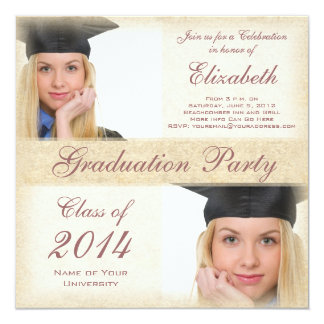 Uni-Abschluss-Party die Highschool des Mädchens Quadratische 13,3 Cm Einladungskarte