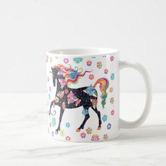 Unicorn - dunkelblaue Rainbpw Blumen Kaffeetasse