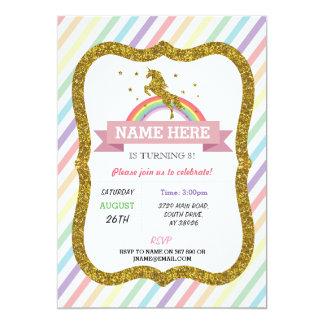 Unicorn-Geburtstags-Party-GoldGlitter-Regenbogen 12,7 X 17,8 Cm Einladungskarte