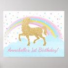 Unicorn-Geburtstags-Party-Plakat-Hintergrund Poster