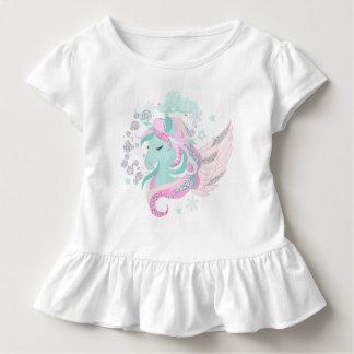 Unicorn-Imitat-Glitzer-Kleinkind-Rüsche-T-Stück Kleinkind T-shirt