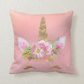 Unicorn-lächelnde Peitschen-rosa Kissen