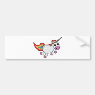 Unicorn mit der Regenbogen-Mähne und dem Schwanz Autoaufkleber