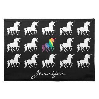 Unicorn-Muster-personalisierter Schwarz-weißer Tischset